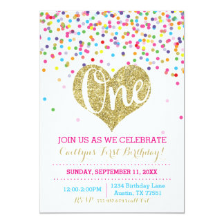 Confetti Gold Glitter First Birthday Invitation