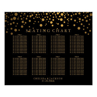 Confetti Golden Dots on Black - 8 Seating Chart