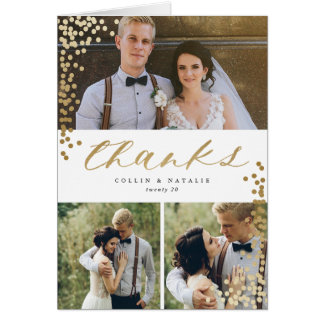 Confetti Grid thank you note faux foil Card