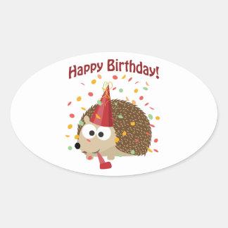 Confetti Happy Birthday Hedgehog Oval Sticker