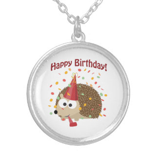 Confetti Happy Birthday Hedgehog Silver Plated Necklace