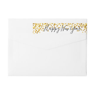 Confetti Happy New Year Wraparound Address Label