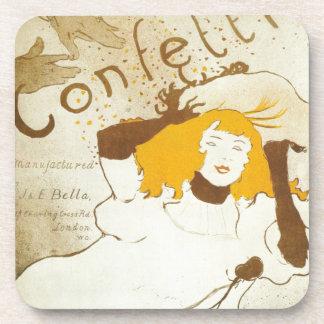 Confetti Henri de Toulouse Lautrec illustration Coaster