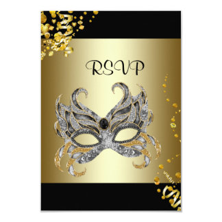 Confetti Mask Black Gold Masquerade Party RSVP 9 Cm X 13 Cm Invitation Card