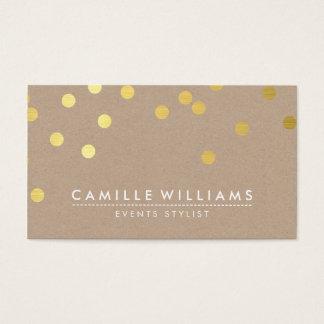 CONFETTI modern cute dot pattern gold foil kraft Business Card