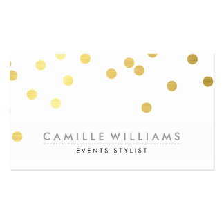 CONFETTI modern cute polka dot pattern gold foil Business Cards