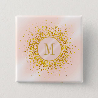 Confetti Monogram Rose Gold Foil ID445 15 Cm Square Badge