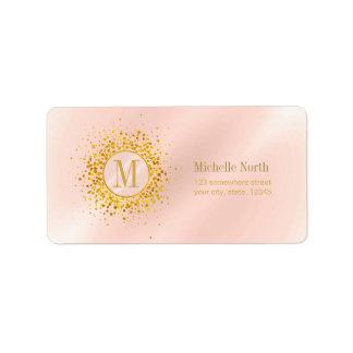 Confetti Monogram Rose Gold Foil ID445 Address Label