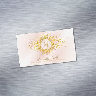 Confetti Monogram Rose Gold Foil ID445 Magnetic Business Card