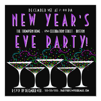 confetti new years eve party invitations & announcements | zazzle, Party invitations