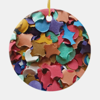 Confetti Party Carnival Colorful Paper Funny Round Ceramic Decoration