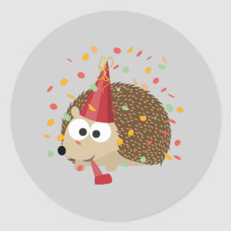 Confetti Party Hedgehog Classic Round Sticker