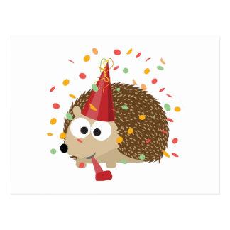 Confetti Party Hedgehog Postcard