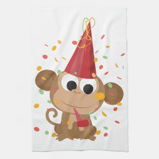 Confetti Party Monkey Hand Towels