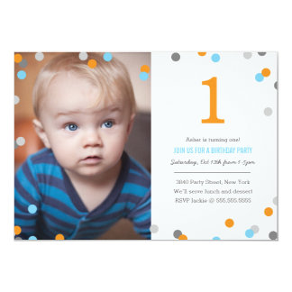 Confetti Photo Birthday 13 Cm X 18 Cm Invitation Card