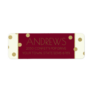 Confetti Pop Burgundy and Gold Address Return Address Label