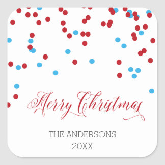 Confetti red & blue Merry Christmas Stickers