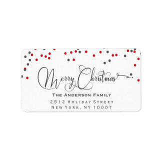 Confetti red & gray Merry Christmas address label