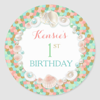 Confetti Sea Shells Coral Mint Peach Gold Round Sticker