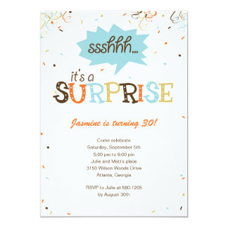 Browse Zazzle Surprise Party invitations and customise with your own text, photos or designs.