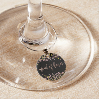 Confetti Sparkle Rose Gold Wedding Maid of Honor Wine Glass Charms