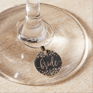 Confetti Sparkle Shine Rose Gold Wedding Bride Wine Charm
