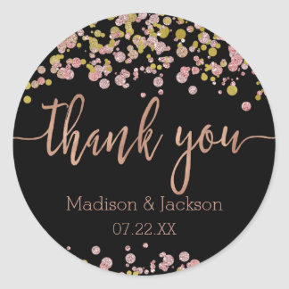 Confetti Sparkle Shine Rose Gold Wedding Favor Classic Round Sticker