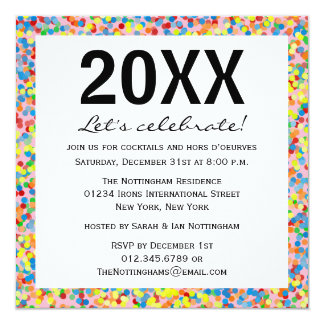 Confetti Sprinkles New Years Party Invite