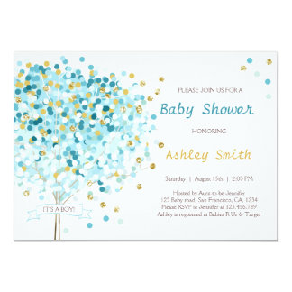 Confetti Tree Baby Shower Invitation Boy Blue Gold