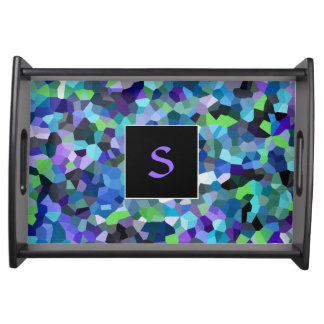 Confetti Violet Blues Monogrammed Serving Tray
