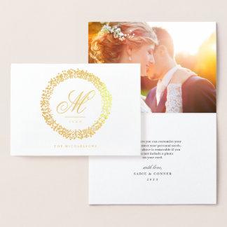 Confetti Wreath Foil Monogram Greeting Card