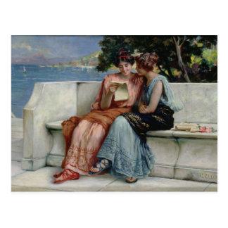 Confidences (oil on canvas) postcard