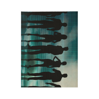 Confident Business Team of Professionals in Suits Wood Poster