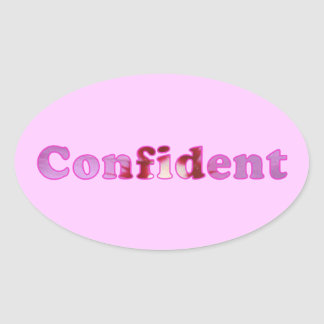 Confident spelled with pink flowers Oval Stickers