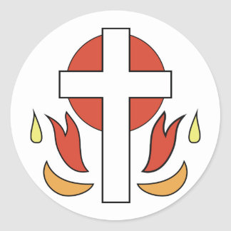 Confirmation Cross and Flames Round Sticker