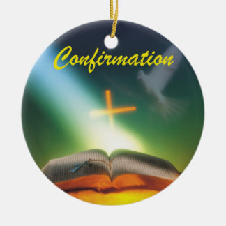 Confirmation Dove, Bible, Cross Round Ceramic Decoration