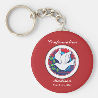 Confirmation, Dove Colorful, Round Gifts, Custom Key Ring