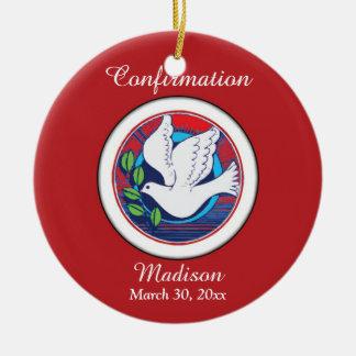 Confirmation, Dove Colorful, Round Ornament