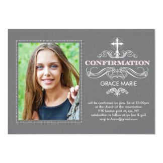 Confirmation Formal Swirls Pink Card