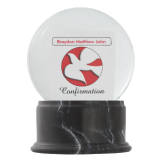 Confirmation Gift Dove in Red Circle Snow Globes