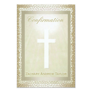 Confirmation Gold Stained Glass 9 Cm X 13 Cm Invitation Card