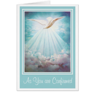 Confirmation Holy Spirit Clouds Rays Card