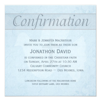 Confirmation Holy Spirit Dove and Cross Blue 5.25x5.25 Square Paper Invitation Card