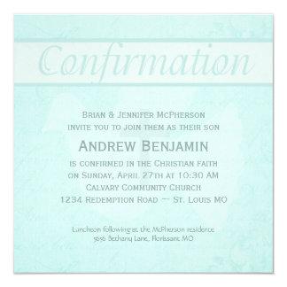 Confirmation Holy Spirit Dove with Cross Aqua 13 Cm X 13 Cm Square Invitation Card