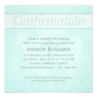 Confirmation Holy Spirit Dove with Cross Aqua Personalized Invite
