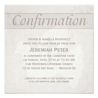 Confirmation Holy Spirit Dove With Cross Taupe 13 Cm X 13 Cm Square Invitation Card