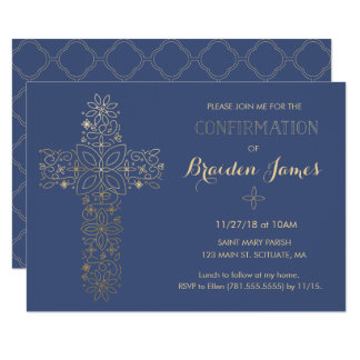 Confirmation Invitation - Gold Cross Invite
