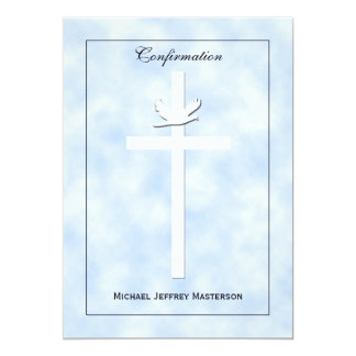 "Confirmation Invite - Dove & Cross on Blue Invite 5"" X 7"" Invitation Card"