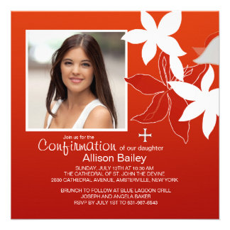 Confirmation Lily Religious Photo Invitation