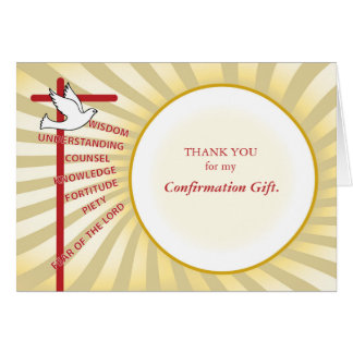 Confirmation Thank You Yellow, Gold Rays Card